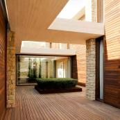 The inner courtyard is clad in wood