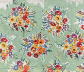 Mary's Room, 1987, for 3 Suisses, France. The sisters always loved flower motifs. This fabric features a loose posy