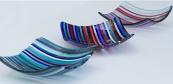 Striped kiln-fused glass by Caroline Lukehurst. www.carolinelukehurst.co.uk