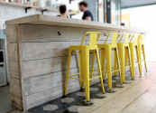 Bespoke breakfast bar made from reclaimed planks by Dan Spendlove www.roughliving.co.uk