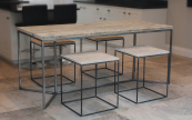 Mild table, reclaimed wood and steel table and stools by Dan Spendlove. Table L175xW75xH75cms, £675.  www.roughliving.co.uk
