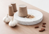 Totem Mortem pestle and mortar, walnut wood and marble. 750 units.