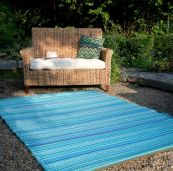 Cancun turquoise rug by US eco brand Fab Habitat, at Cuckooland