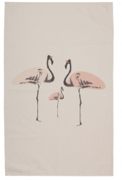 Flamingo Party - organic cotton teatowel by Space 1a Design, £9.95. www.space1a.com