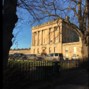The museum at No1 Royal Crescent is on the east side of the street
