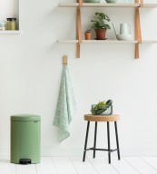 Brabantia's New Icon bin in moss green is made from 40 per cent recycled materials, is 98 per cent recyclable and sales raise money for The Ocean Cleanup. 30L bin £60 at johnlewis.com