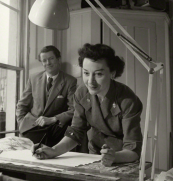 At work in the '50s. Lucienne Day died in 2010