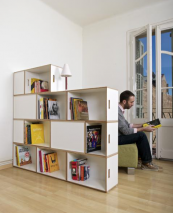 Brick Box by Barcelona's Kazam!, plywood modular storage boxes. Build a bookcase, or a room divider..and you can use the units as containers when you move. Large box 54x27x36cms, small 27x27x36cms. from 36 euros a box www.brickbox.es