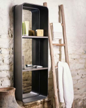 Loft mirror with shelving from Mirror Deco is a very useful piece. The frame is metal and the two middle shelves are MDF. £245, www.mirrordeco.com
