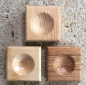 Hand carved salt pinch pots made from British hardwoods by Alice Blogg, £18