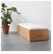 Double length wine crate ottoman, with padded upholstered seat, £275, by Made Anew