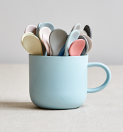 Sue Pryke - porcelain cup and porcelain spoons