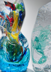 The bottles feature exquisite colour. www.londonglassblowing.co.uk