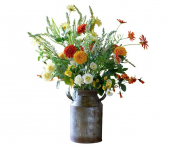 Faux flowers can be very realistic and they have the eco merit of longevity - though do dust them regularly. This Marigold Arrangement (£69) is from Bloom