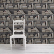 Vintage bookshelf wallpaper by mineheart