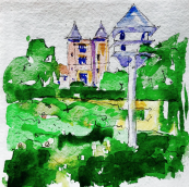 Sissinghurst, Kent: The Tower from the Orchard by architect, artist and illustrator Rupert Carruthers of Rucarru Art