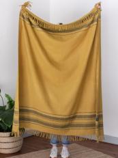 Mustard stripe recycled wool blanket, £40 at the Tartan Blanket Company