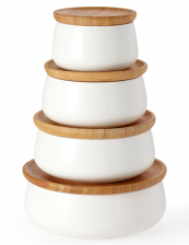 Nest of ceramic containers with bamboo lids by Australian brand Ecology, on sale at divertimenti and John Lewis