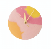 Studio Emma for Curious Makers, handmade small pink and orange concrete wall clock, £50