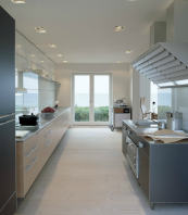 Element7 engineered boards with a pale finish are good for a long kitchen. www.element7.co.uk