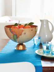 Inspired thinking... half a globe becomes a lovely fruit bowl