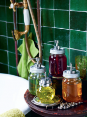 Jam jars can become stylish soap and bubble bath dispensers