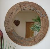 Mirror made from reclaimed timber from India £150, 85cm dia www.wowpieces.co.uk