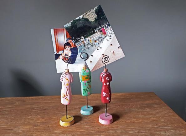 Cheongsam wooden dress photo holder