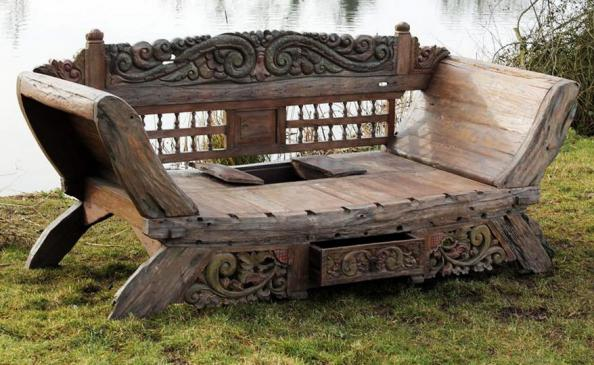 Bali Majestic Daybed Bench Is Made From Reclaimed Teak, Put Together,  Carved And Decorated