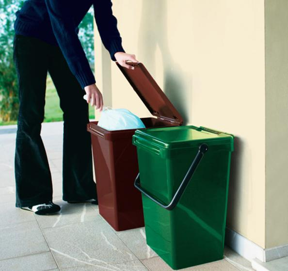 put your corn starch bags of food waste and peelings into these large bins by british