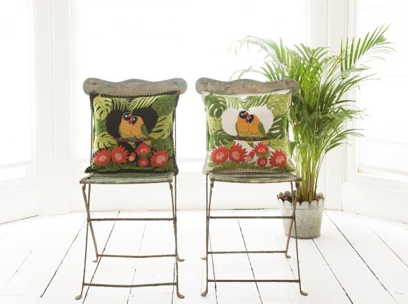 Tropical, fresh and topical..Love Bird cushions by Jan Constantine