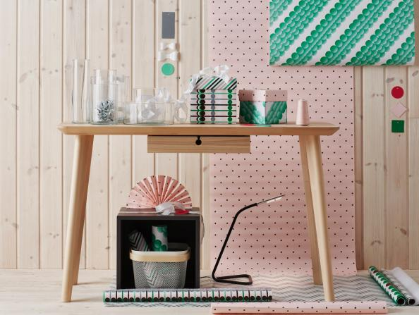 Lisboa ash veneer desk, £115, has only one leg fitting