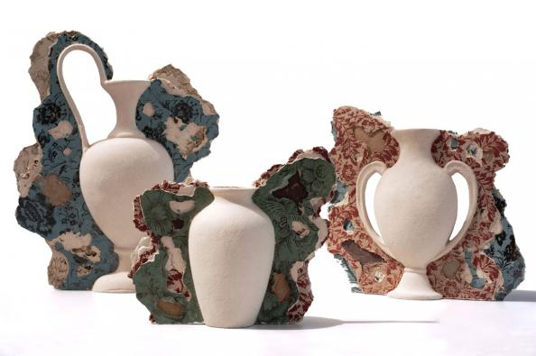 Peeling Wallpaper vases, wallhangings, by Claire Lovett Ceramics