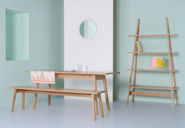 FSC-certified American white oak A-frame table, bench and storage unit by London's Matthew Elton