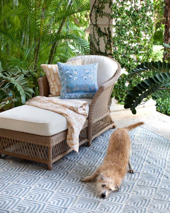 Cleo Blue in/outdoor rug by Dash & Albert made from recycled PET. From £136