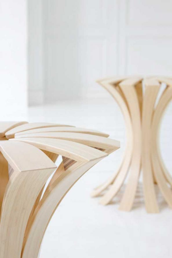 Spring Is An Beguiling Stool Made From Steam Bent Strips Of Bamboo.  Designed By Erik