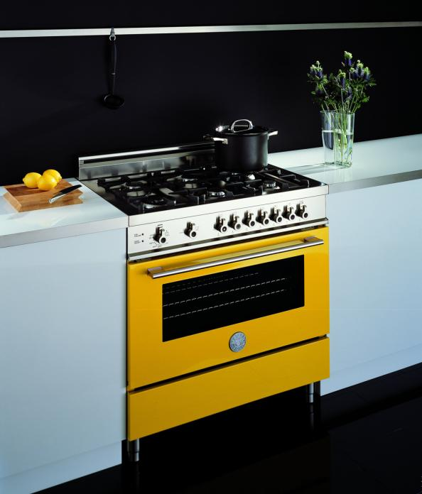 Awesome Freestanding Range Cookers Uk Part - 9: Bertazzoni X90 Freestanding Range Cooker In Vibrant Yellow Has Specially  Designed Gas Burners. From £
