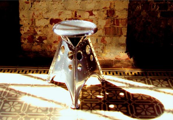 Aircraft aluminium used to make stools by Germany's Aero-46