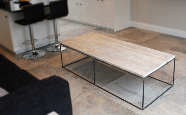 Mild coffee table, L150xD66xH40cms, £260, reclaimed wood and steel frame by  Dan