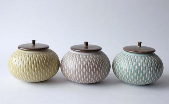 Incised lidded jars, £45 at Jardins Florian