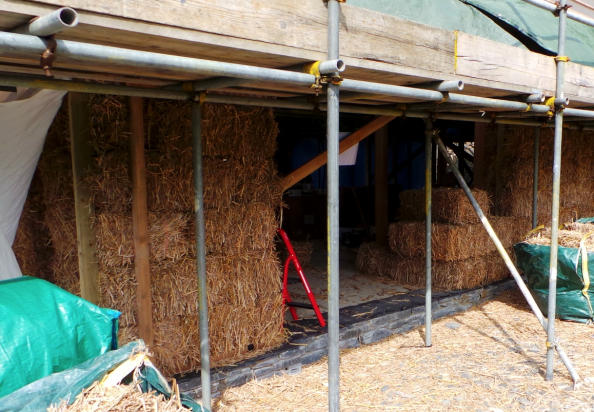 Miscanthus bale house in west Wales under construction