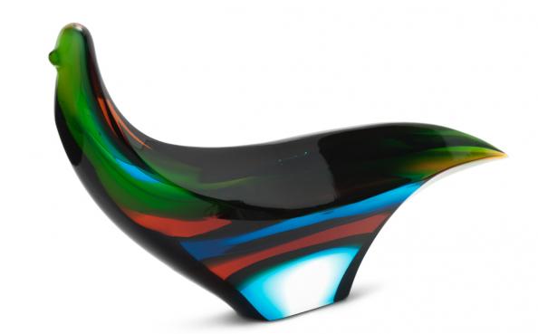 Czechoslovakian Exbor cut and polished glass bird