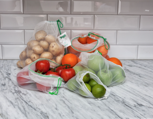 Veggio bags are made from polyester. They're washable, last for ages and can be recycled