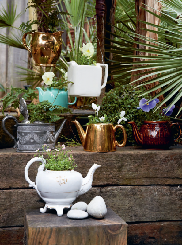 Old teapots make fun planters