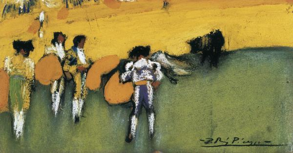 Bullfight, pastel, 1900. Well Museo del Can Ferrat in Sitges