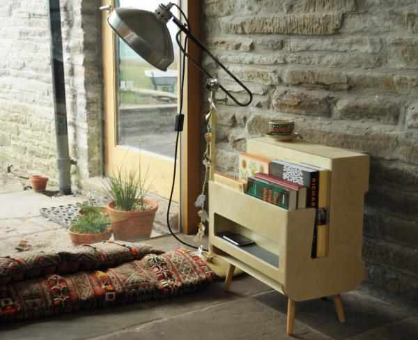Compact and versatile FSC birch ply Bookie bookshelf by Louise Christie