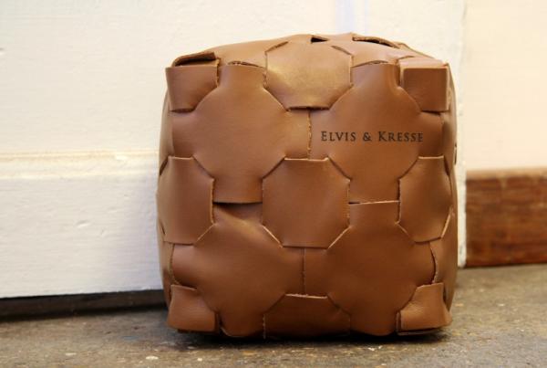 Leather cube doorstop by Elvis & Kresse